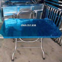 Bàn Xếp Inox Mặt Hoa Văn 1200×700 mm