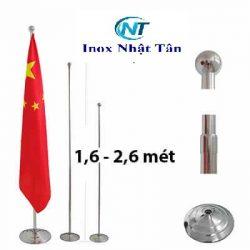 Cột Cờ Inox Văn Phòng Tùy Chỉnh 1,6 – 2,6 m – Bạc thường